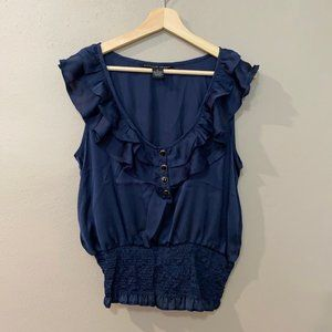 Navy Blue Satin Feel Ruffle Top with Buttons